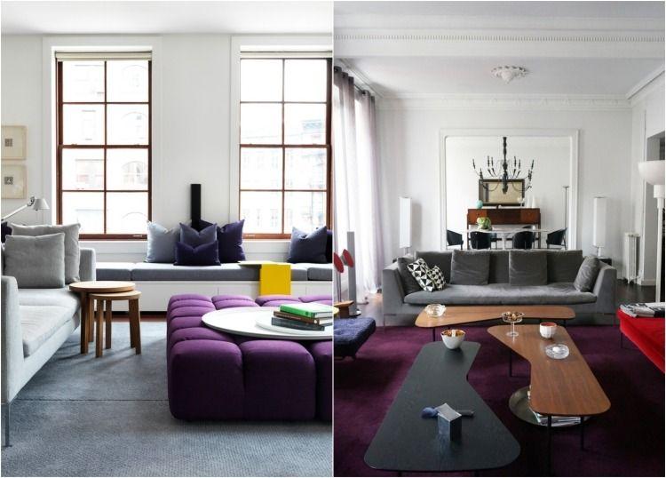 couleur aubergine associée de gris dans le salon contemporain - decoration salon en gris