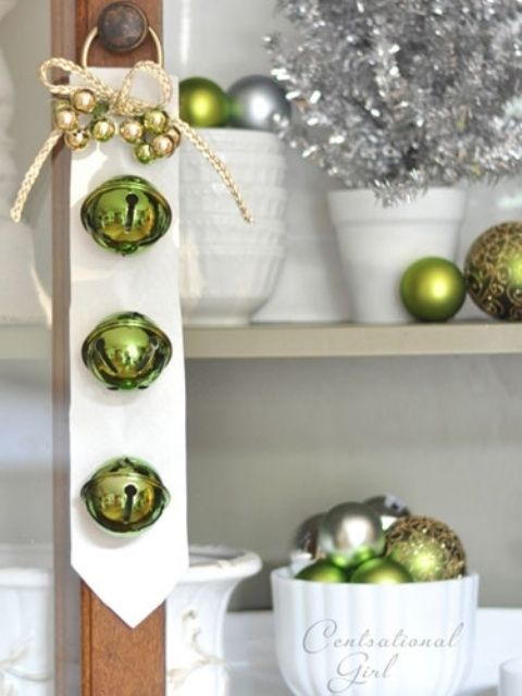 jingle bell door decoration wide white ribbon velvet leather large light green bells braided white cord with small green baubles ring for hanging