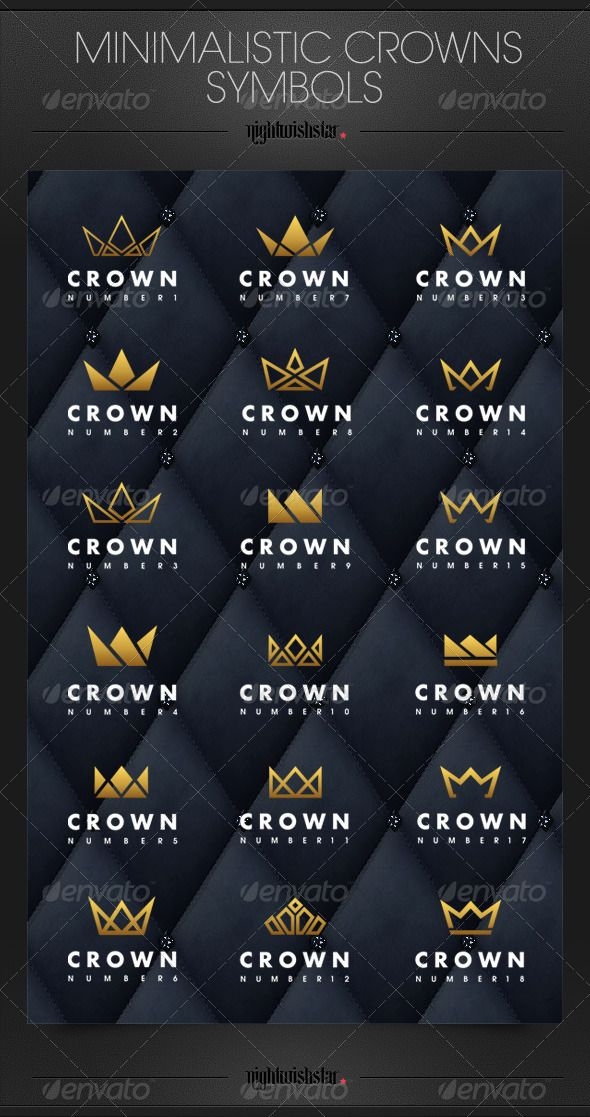 Minimalistic Crowns Symbols Is Image Is Available On Graphicriver