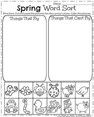 Spring Kindergarten Worksheets For April Sorting Words Into Categories Spring Worksheets Kindergarten Spring Kindergarten Science Kindergarten Worksheets
