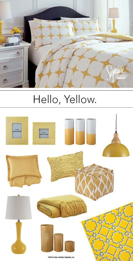 Yellow Bedroom Theme and Accessories   Ashley Furniture    AshleyFurniture. Hello Hello  Yellow Bedroom Theme and Accessories   Ashley