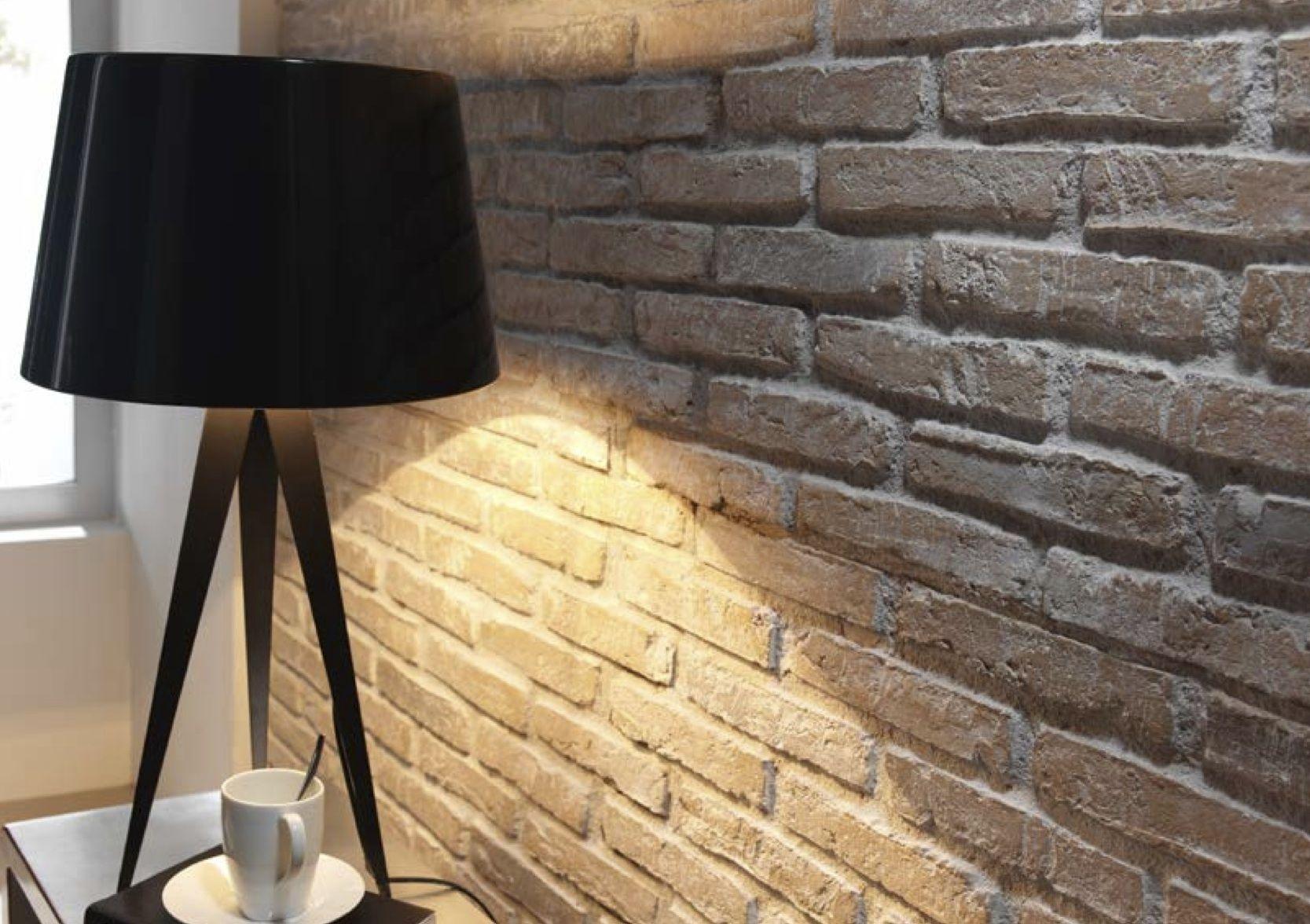 Earthy whitewashed fauxbrick rustic brick wall panels - Fake brick wall covering interior ...
