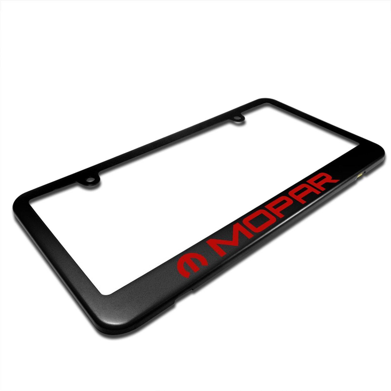Mopar In Red Matte Black Metal License Plate Frame For Dodge Jeep