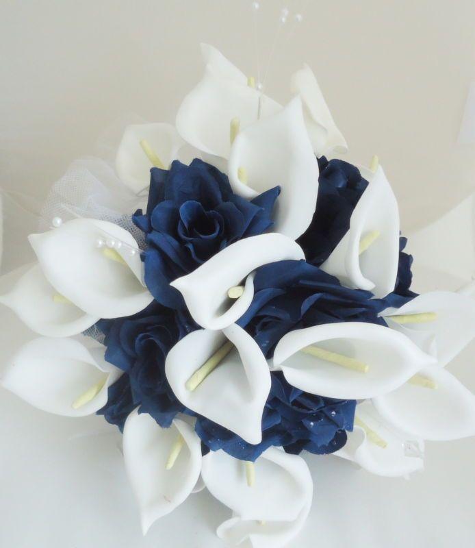 Silk Flower Wedding Bouquet Cream Calla Lily Navy Blue Champagne ...