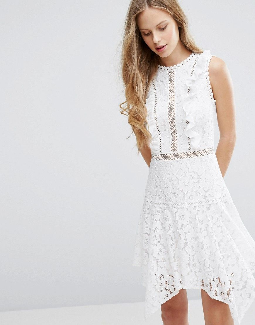 a1df44a458 Miss Selfridge Asymmetric Hem Lace Dress - White