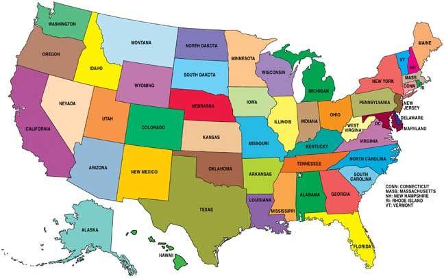 etats des etats unis carte Carte des États Unis   USA (avec images) | Carte etats unis, Carte