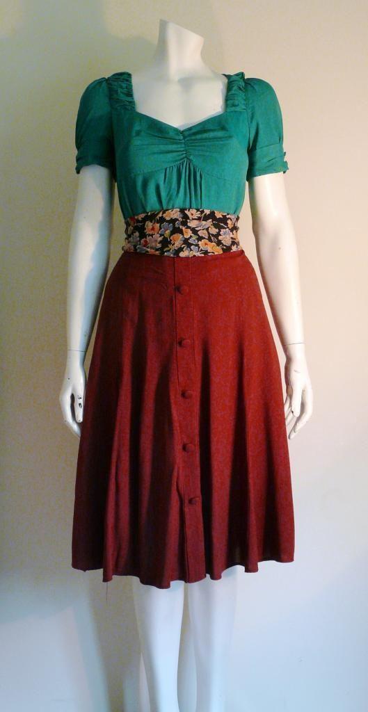 1940's style outfit, green sweetheart blouse, burgundy skirt and cummerbund belt DEWVINTAGE  http://stores.ebay.co.uk/Dew-Vintage https://www.facebook.com/DewVintage