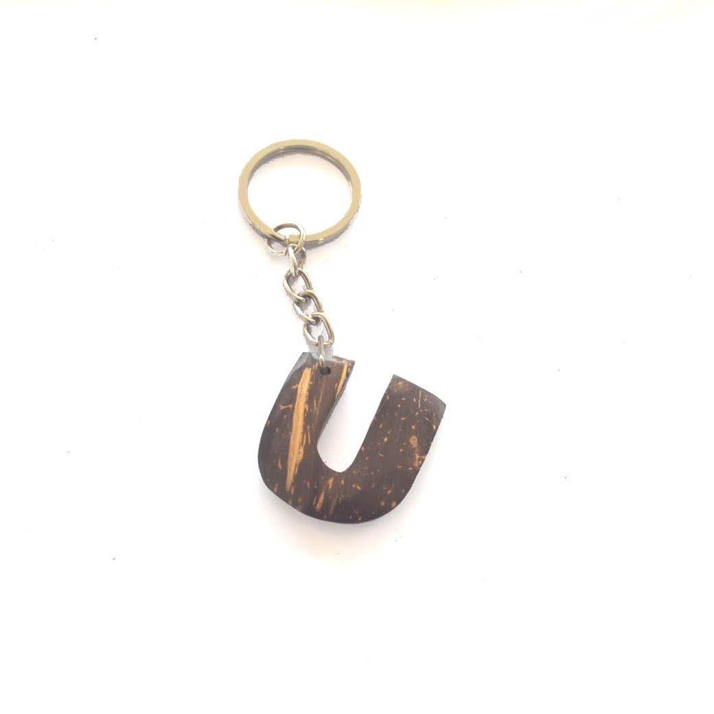 Coconut shell. Key tag. Made in Sri Lanka. Coconut shell