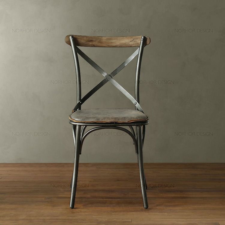 American Village Wrought Iron Wood Chair Wooden Chair Retro Casual Cafe  Chair Computer Back Metal Chairs