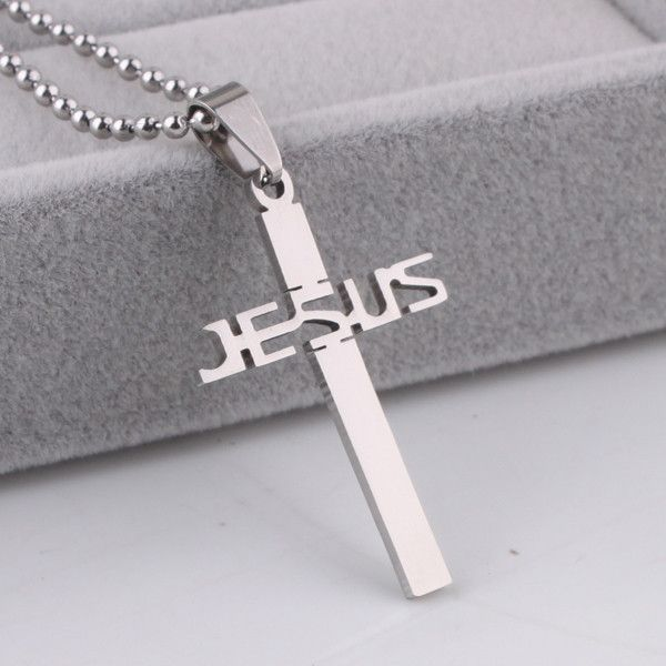 argent Crucifix Charm Collier Pendentif Perles Chaîne TRENDY Unisexe en Acier inoxydable