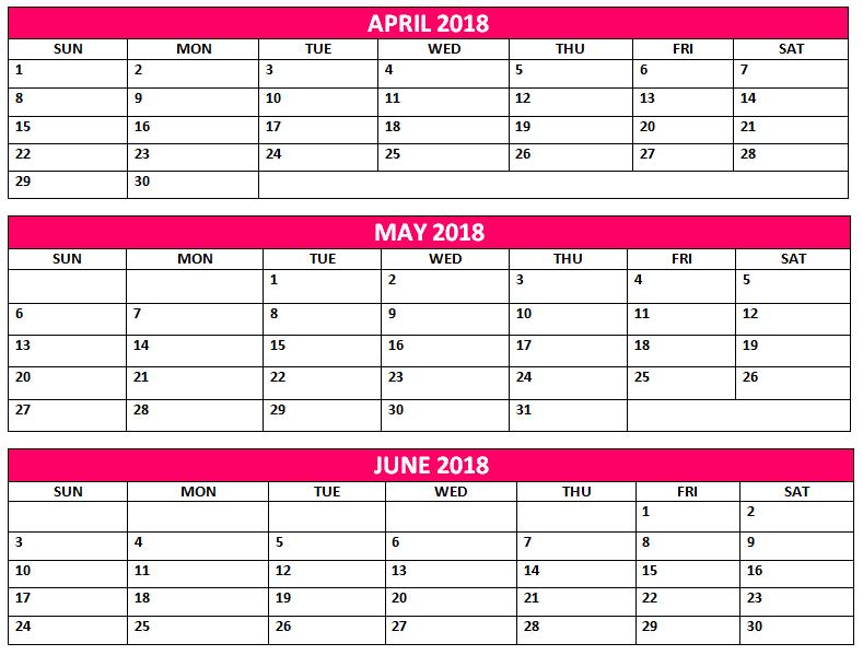 2018 quarterly monthly calendar printable