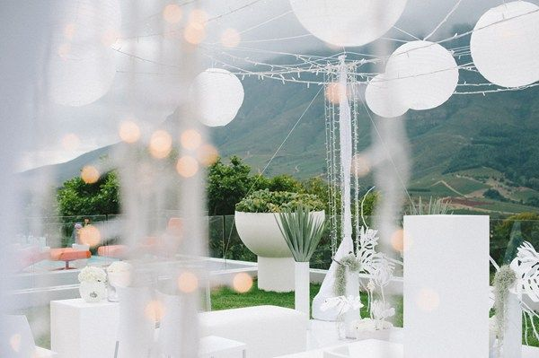 Real Wedding decorations. The floor, chairs, flowers and suspended paper lanterns were all white