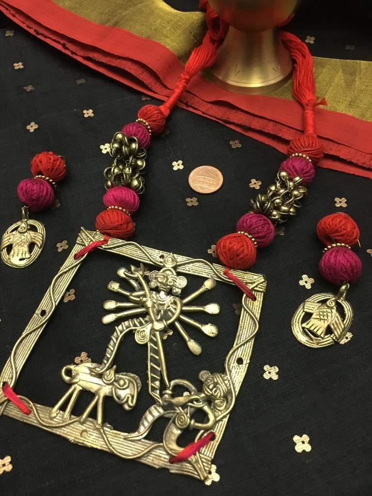 Pure dokra necklace set with dokra earrings german silver jewelry