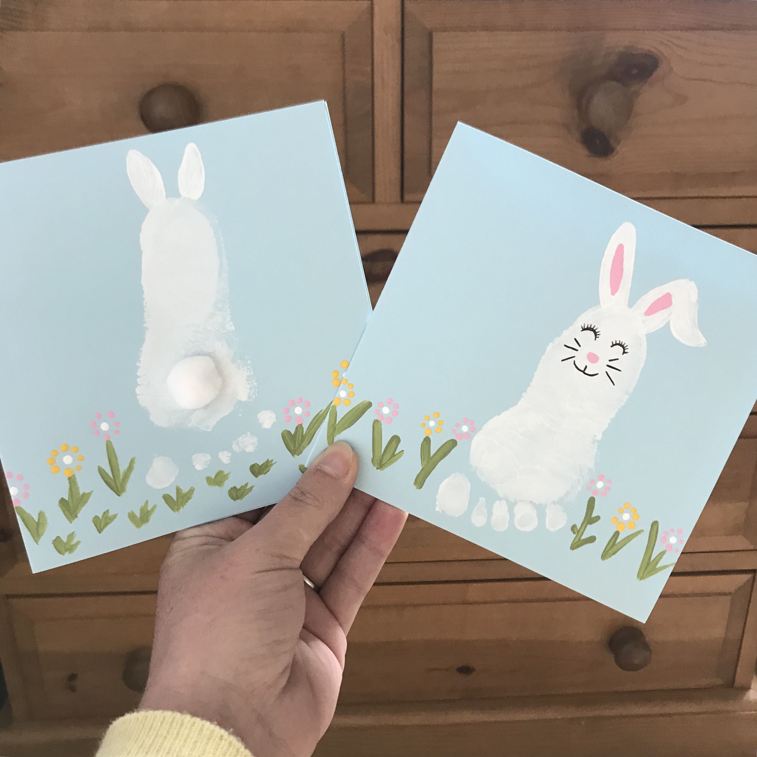 Baby Footprint Bunny Rabbit Cards For Easter Easter Cards Handmade Funny Easter Cards Vintage Easter Cards