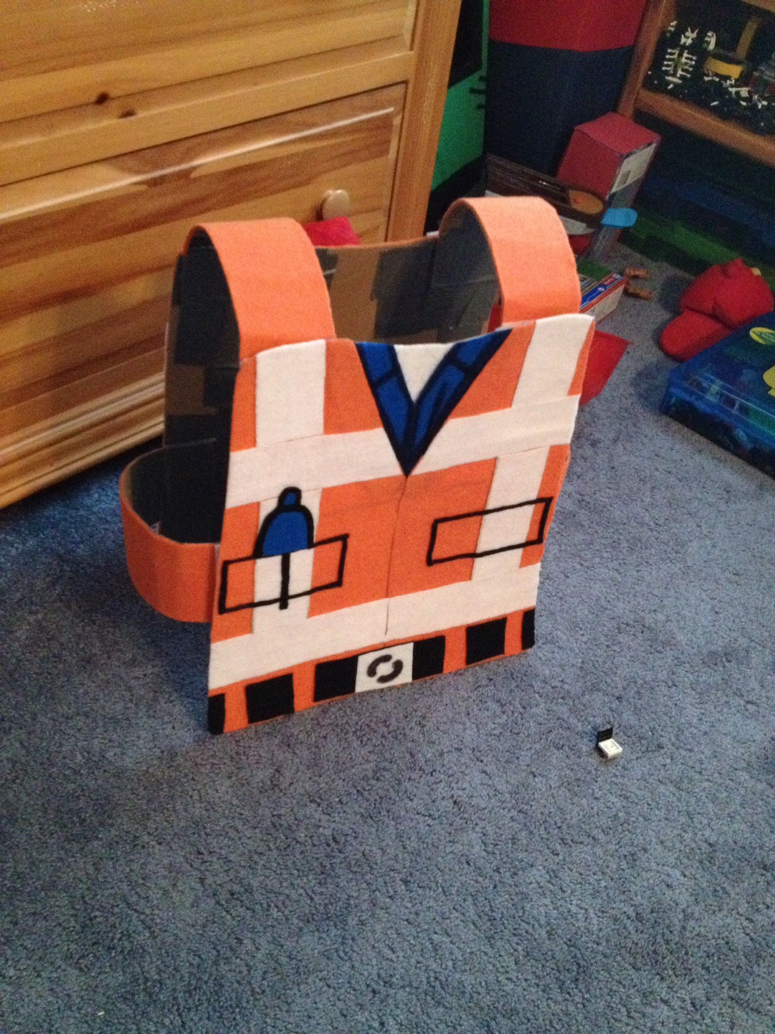 The Lego Movie Emmet Costume I Made This From Heavy Duty Cardboard Felt Velcro And Glue Lego Costume Lego Costume Diy Lego Movie Birthday