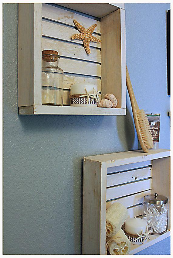 White Nautical/Beach Shelf, Bathroom Shelf, Beach Crate ...