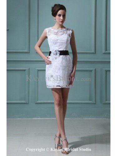 Lace Bateau Neckline Short Sheath Wedding Dress with Flowers.. Good ...