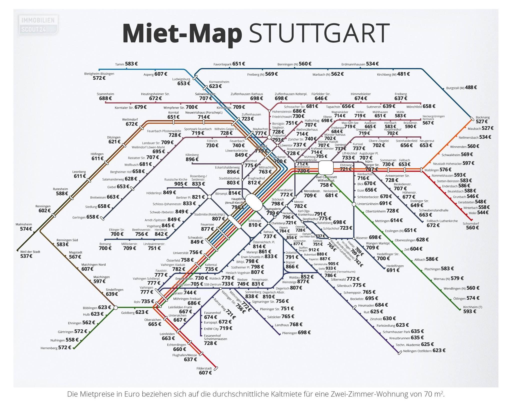 Hallo Stuttgart hier ist eure MietMap Entlang der U und SBahn