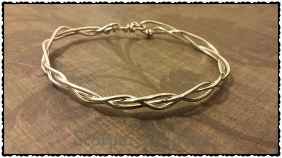 Simple Wire Braid Minimalist Bracelet  Bangle by ScorpioFashions