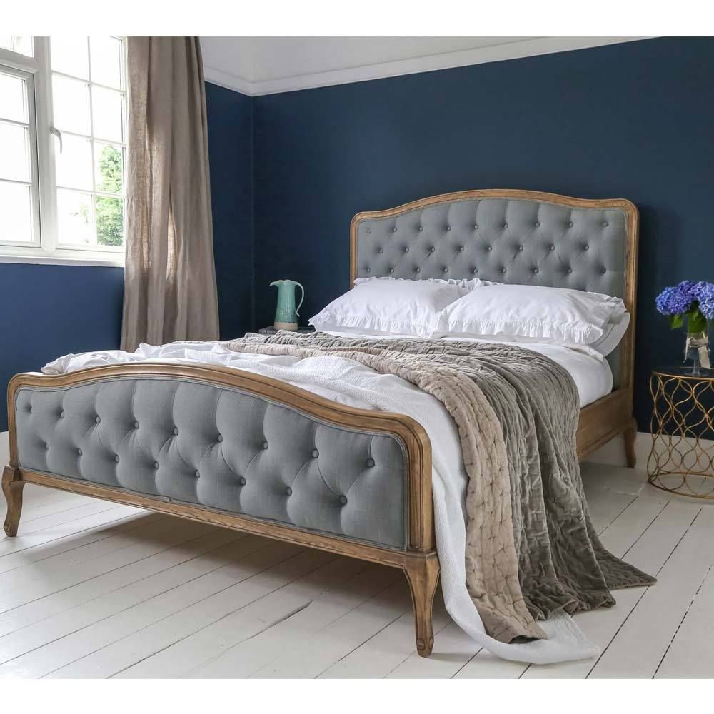 French Linen Upholstered Bed Blue Upholstered Bed