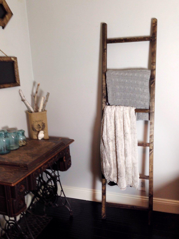 72x19 Blanket Ladder 6ft Wood Quilt Rustic Towel Rack Primitive Home Decor Magazine Rack By Themiteredjoint On Etsy Rustic Towel Rack Ladder Decor Home Decor