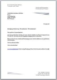 Kündigung Arbeitsvertrag Den Arbeitsvertrag Kündigen Mit Vorlage