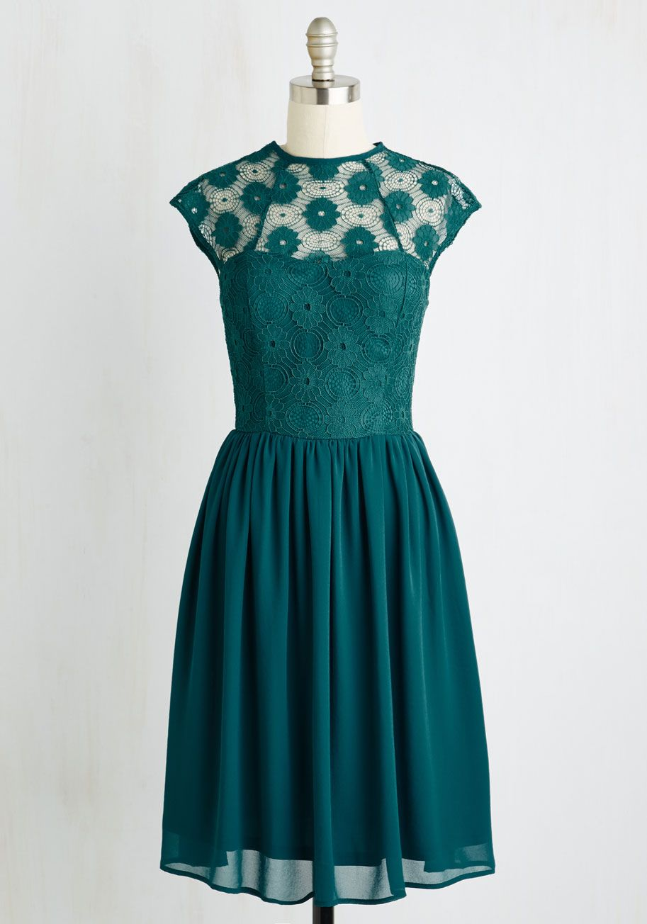 Collectif Fondness Blossoms Fit and Flare Dress in Ivory | Emeralds ...