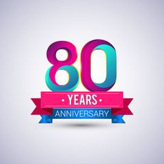 80 years anniversary logo, blue and red colored vector design