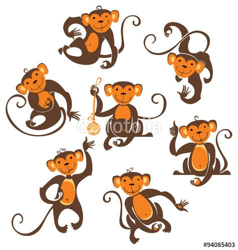 Vector: Seven funny monkeys. Time of pampering in young animals.