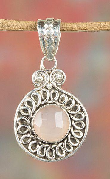 Rose Quartz Jewellery – Faceted Rose Quartz Silver Pendant BJP-996-RQC – a…