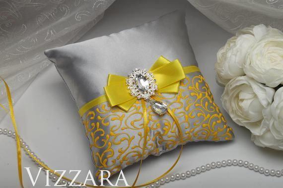 Almohada Portador del anillo Amarillo y Apagado de Boda de