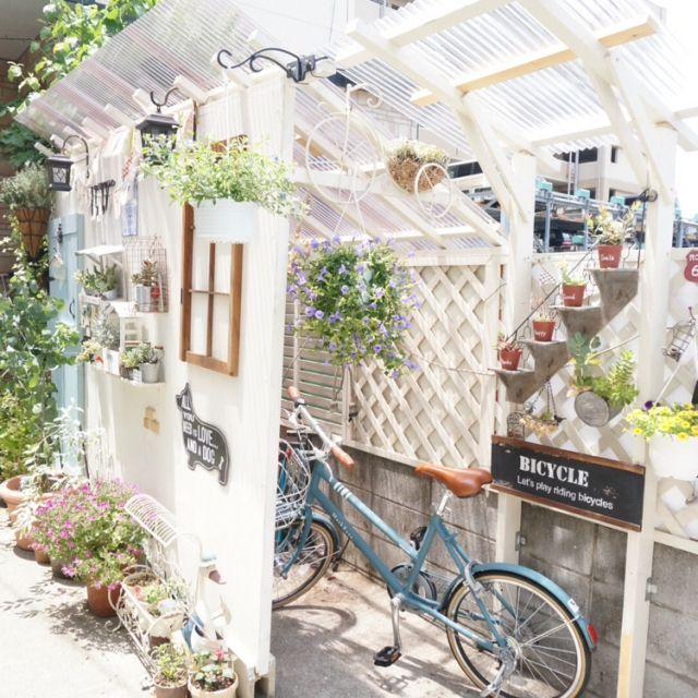 おしゃれな自転車置き場 玄関周り マイホーム 家 外観 工務店