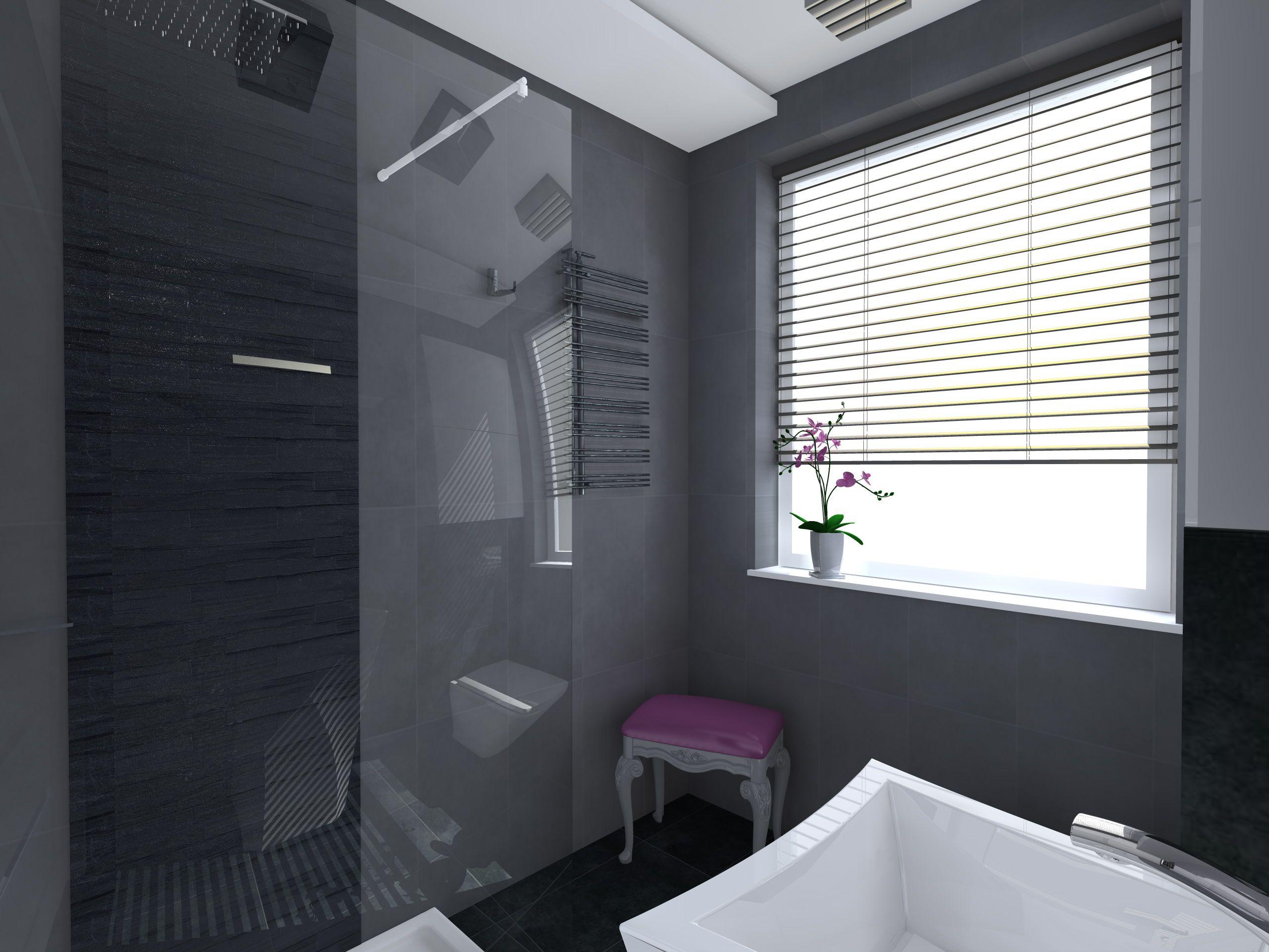 Projekt I Aranżacja Małej łazienki W Stylu Glamour Ciemne