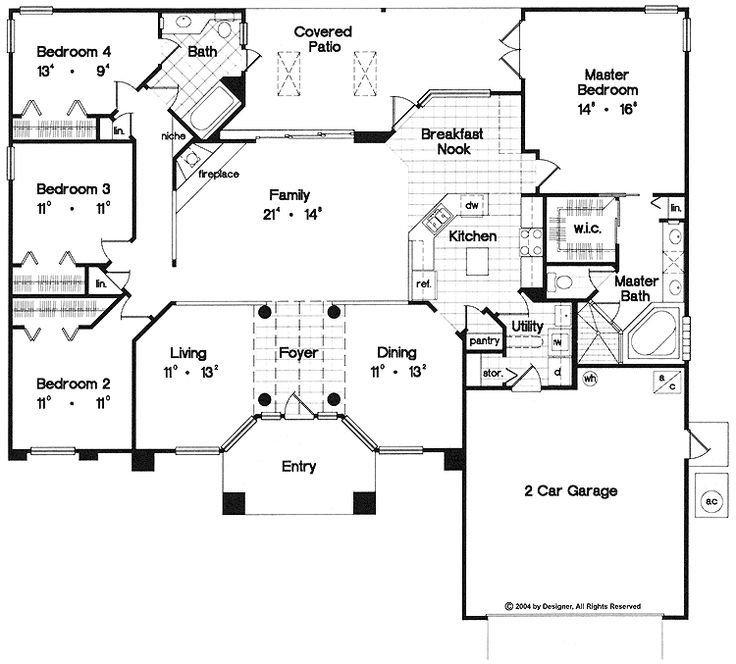 1 acre home floor plan google search home design - Single story four bedroom house plans ...