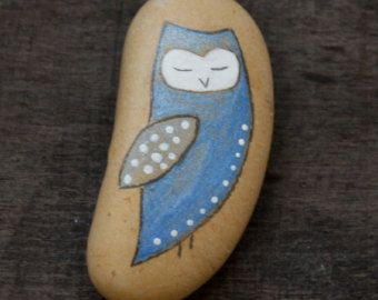 Owl painted beach stone Israel holy land  sea rocks art meditation stones watercolor painted pebbles