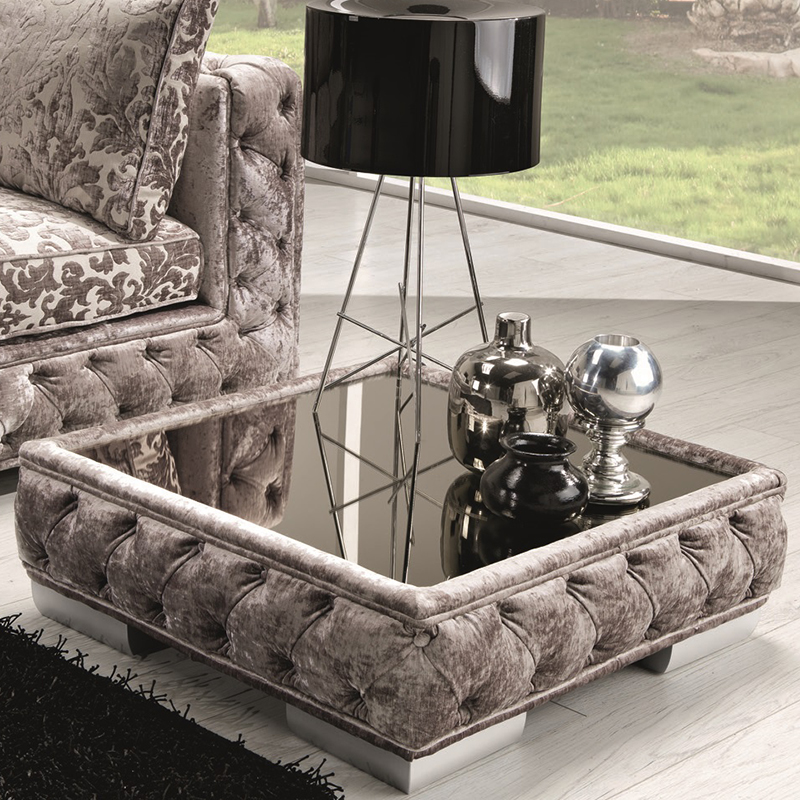Vanity Pouf Coffee Table In Tufted Taupe Fabric Glass By J M