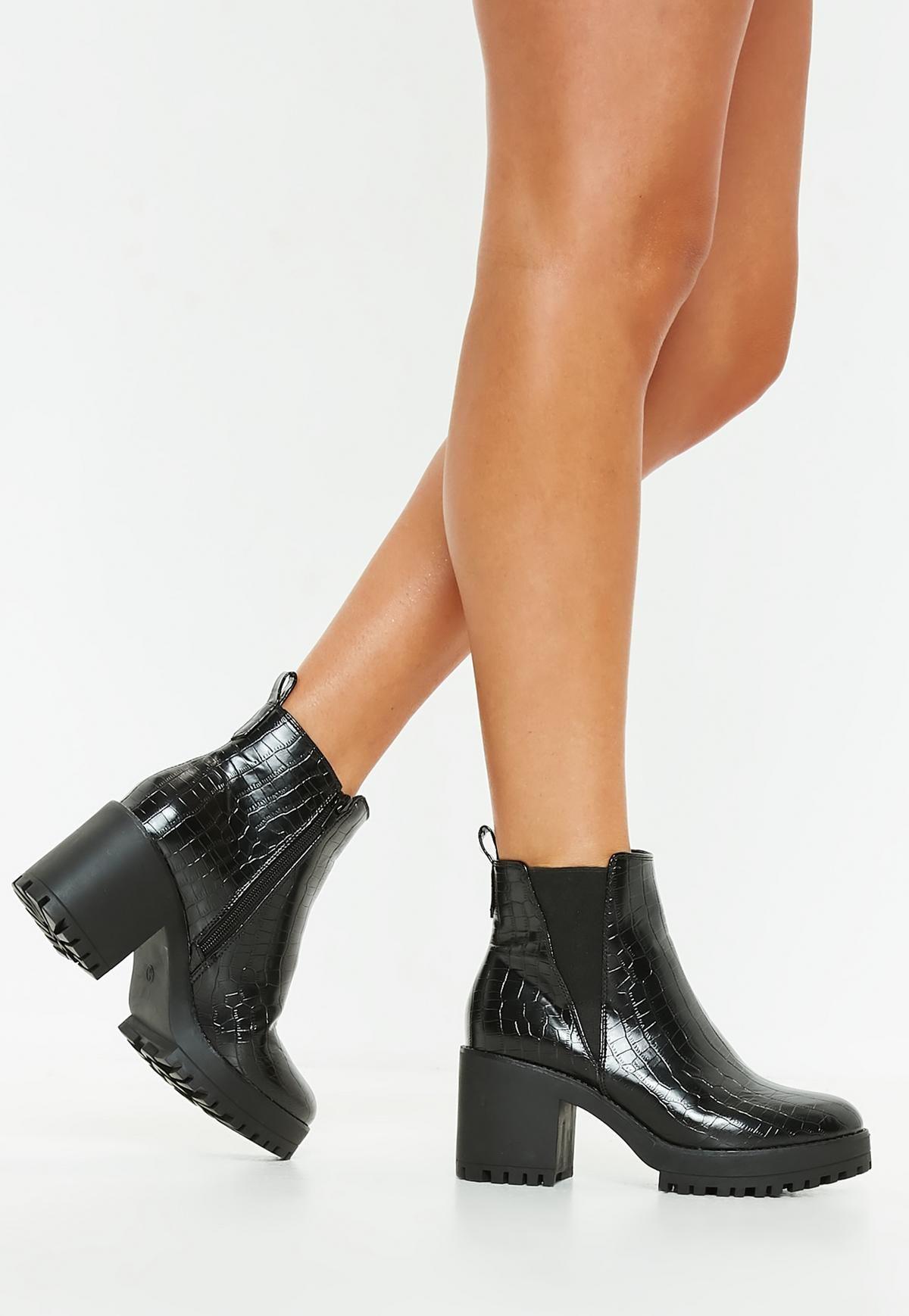 Black Chelsea Croc Ankle Chunky BootShoesChaussure FcT3KlJ1