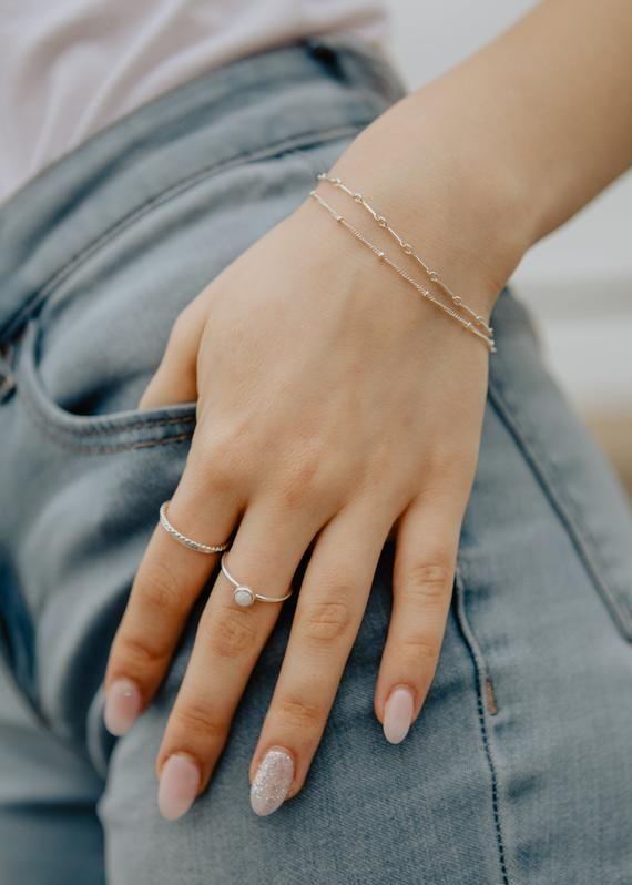Photo of Silver Bracelet | Beaded Bracelet | Chain Bracelet | Minimalist Jewelry | Dainty…