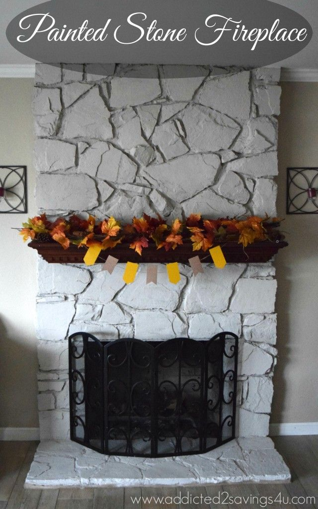 Painted Stone Fireplace DIY Painted stone fireplace Stone