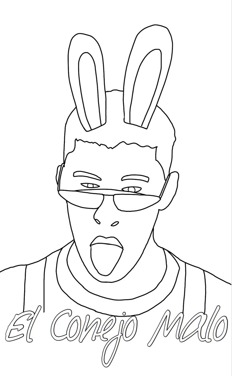 Badbunny Latinogang Elconejomalo Rosalia Latinos Spanish Reggaeton Popculture Coloringpages Coloring Bunny Coloring Pages Outline Art Coloring Pages