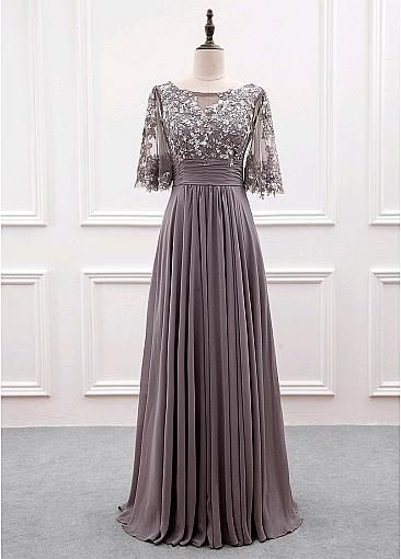 [111.99] Wonderful Tulle & Chiffon Bateau Neckline A-line Mother Of The Bride Dress With Sequin Lace Appliques