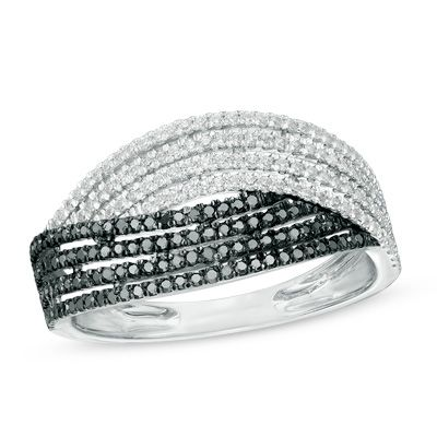 Zales 1/10 CT. T.w. Enhanced Black and White Diamond Crossover Band in Sterling Silver EasOI2EJ