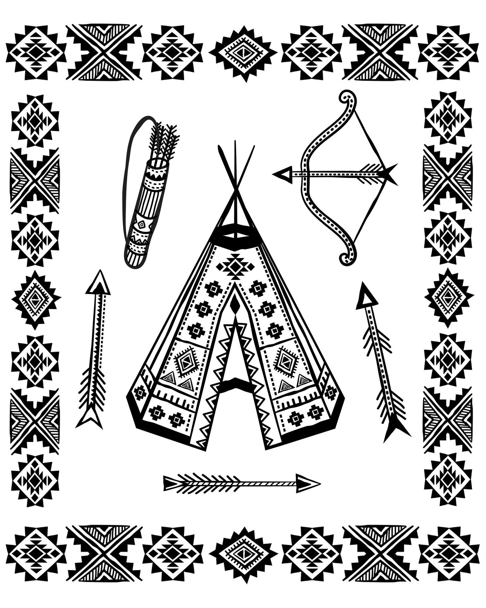 Native American Tipi And Symbols Coloring Page With A Tipi And Other Symbols From The Gallery Nati Native American Symbols American Symbols Coloring Pages