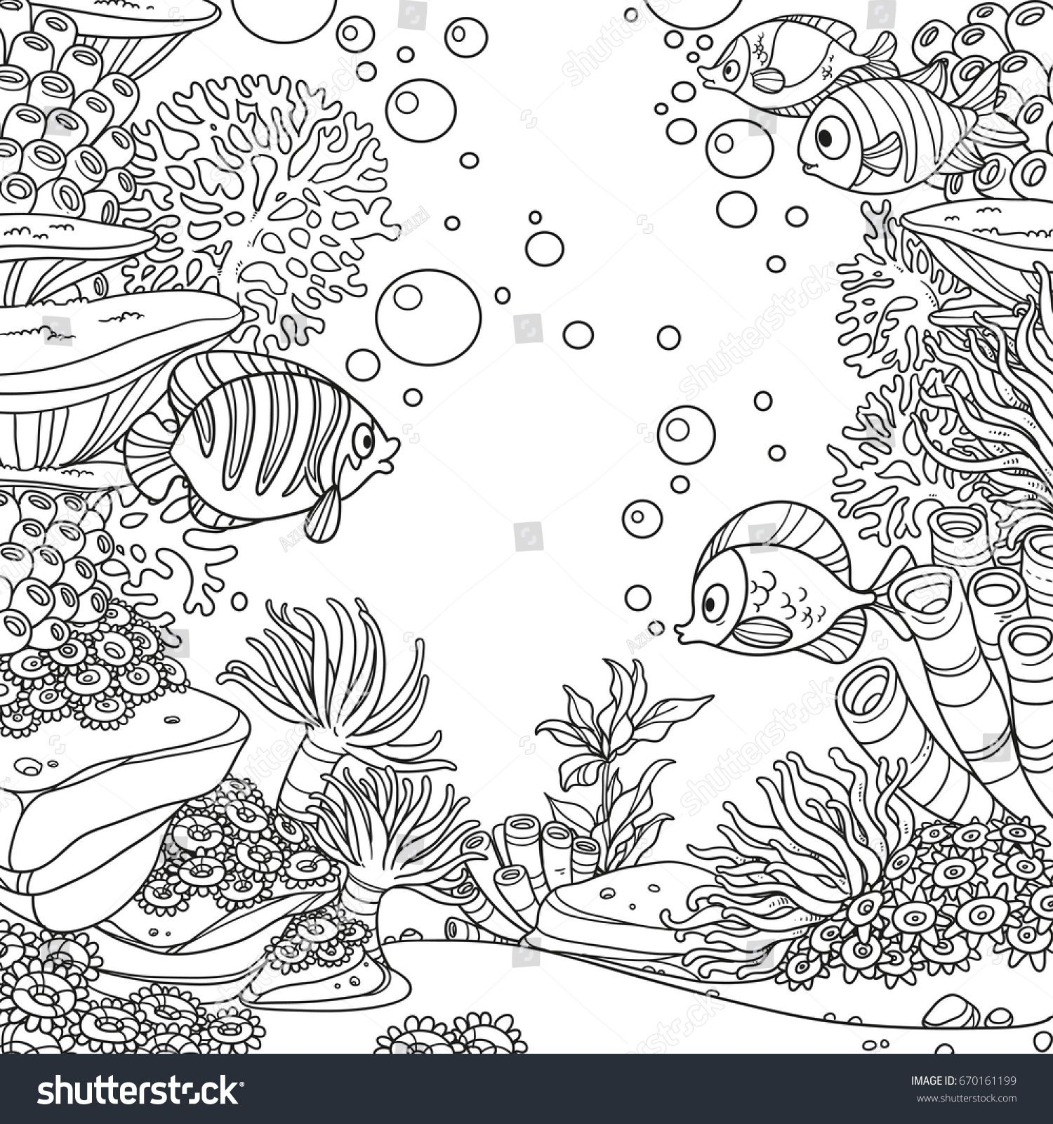Coloring pages for donna flor - Underwater World With Corals Fish Algae And Anemones Coloring Page Isolated On White Background