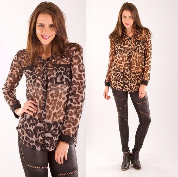 248f90836f0d99 Leopard Print Button Down Shirt New Womens Sexy Animal Leopard Print Button  Blouse Shirt Top Black Brown Size