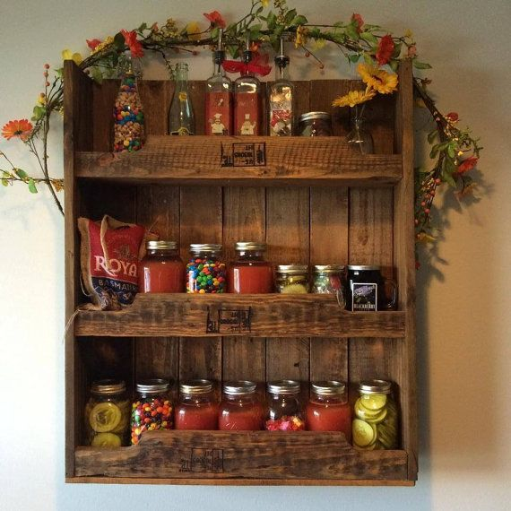Woodworking Plans For Kitchen Spice Rack: Rustic Hand Crafted From Reclaimed Wood Spice Rack