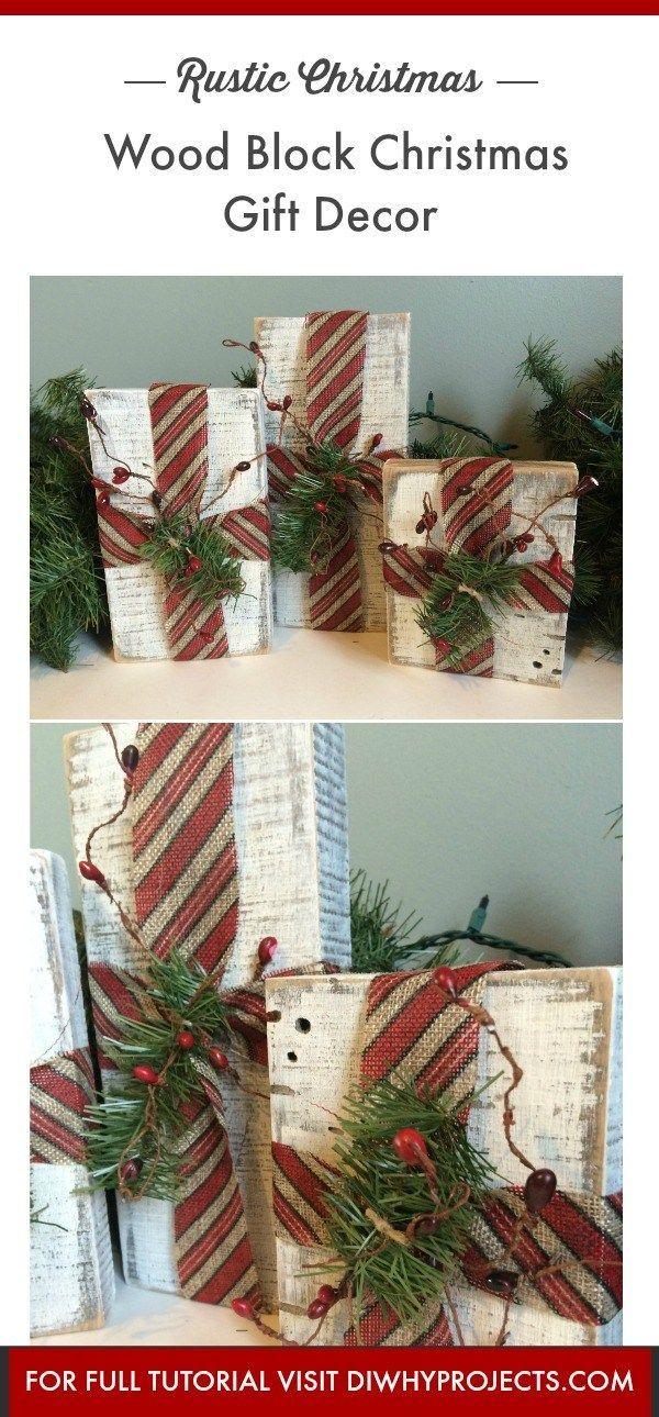 Diy Rustic Wood Block Christmas Gifts Decor Christmas Wood Diy