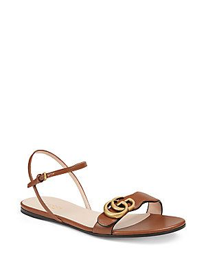 d7edf9463 Gucci Marmont Double G Flat Leather Sandals | Shoes in 2019 | Gucci ...