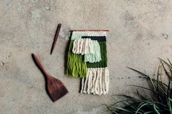 Woven Wall Hanging / Handwoven Tapestry / Weaving Fiber Art / Monochromatic Green Patchwork