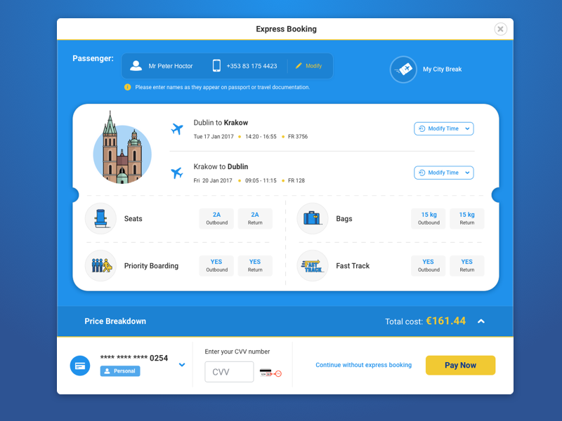 c7601a54ba3 Book your flight in only two clicks with our new Express Booking, the  fastest way to book in the airline industry. www.ryanair.com